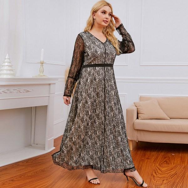 Plus Size Damklänning Spets V-ringad bröllopsklänning black XXXL