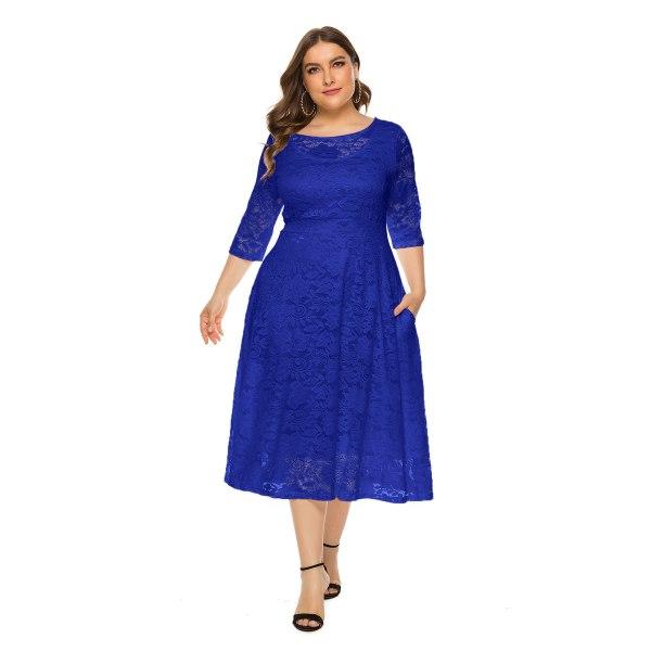 Plusstorlek kvällsklänning med rund hals Chiffongklänning blue 6XL