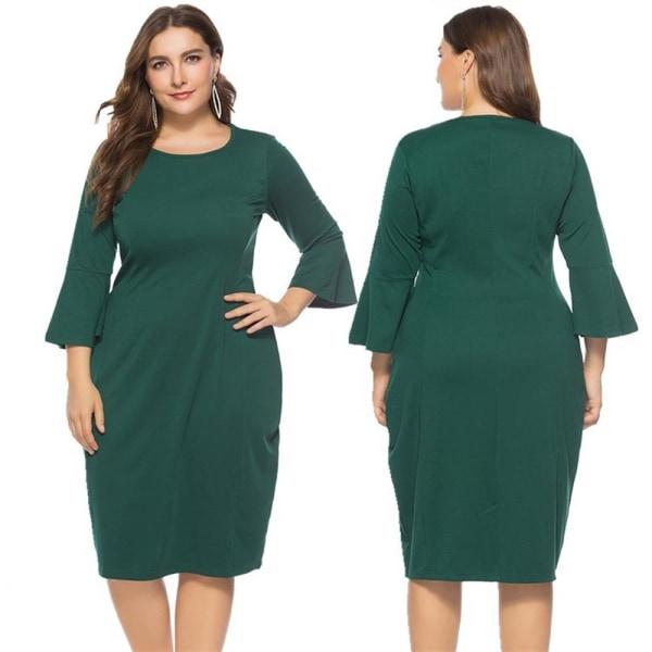 Damklänning Rundhals Slim Fit Flared Sleeve Mid-length Dress green 5XL