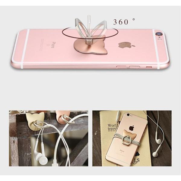 Katt Ringhållare till Mobiltelefon - Rose Gold