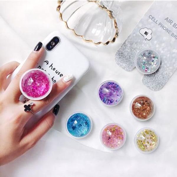 Liquid Glitter Ringhållare till Mobiltelefon - Silver