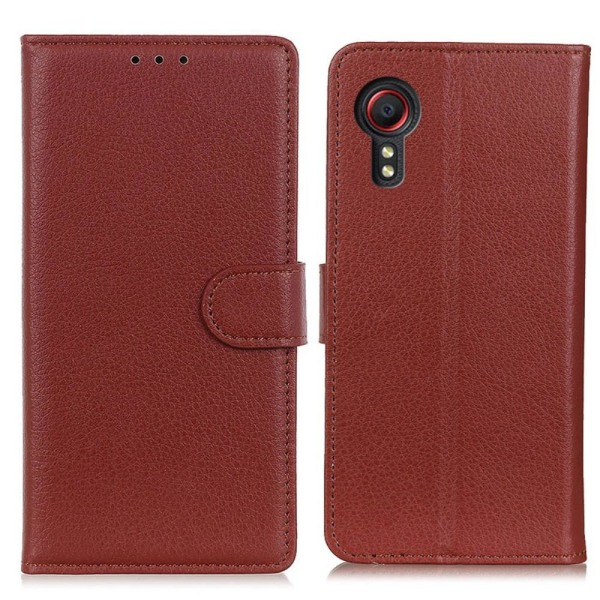 Litchi Plånboksfodral Samsung Galaxy XCover 5 - Brun