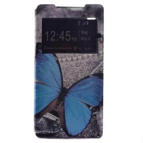 Mobilfodral med fönster till Sony Xperia Z5 - Blå Fjäril