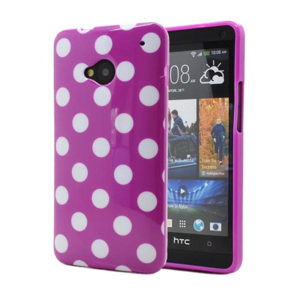 Polka dots FlexiSkal till HTC ONE / HTC  M7 (Lila)