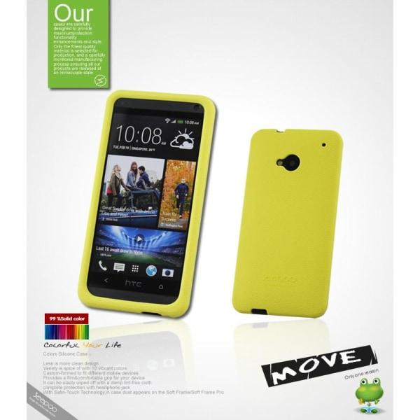 Seepoo Silikonskal till HTC One (M7) (Gul) + Skärmskydd