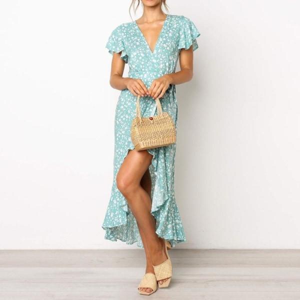 Blommigt tryck lång klänning sommar kortärmad boho Blue XXL