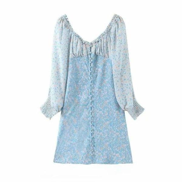 Blommigtryckt långärmad elegant klänning blue S