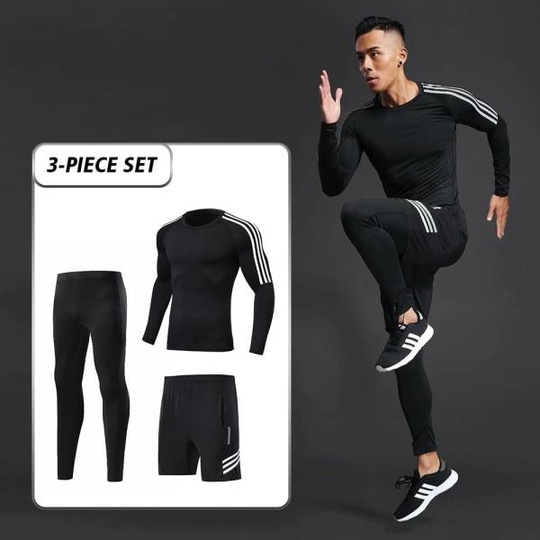 Herrträningsdräkt för män, gym / jogging / löpande tighta XL265-white side
