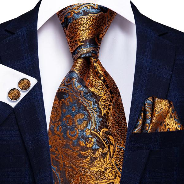 Hi-tie siden lyx blommig svart guld paisley hals slips ficka SN-3225