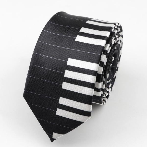Klassiskt mode mäns mager slips färgglada musiknoter tryckt 2