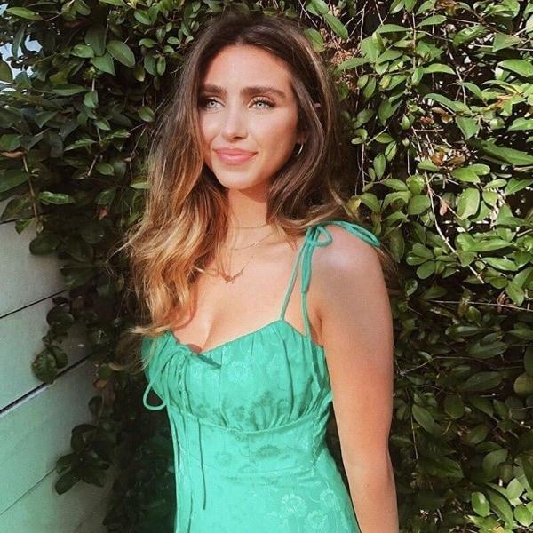 Kvinnor blommiga jacquard spaghetti remmar draperad grön satin Green M