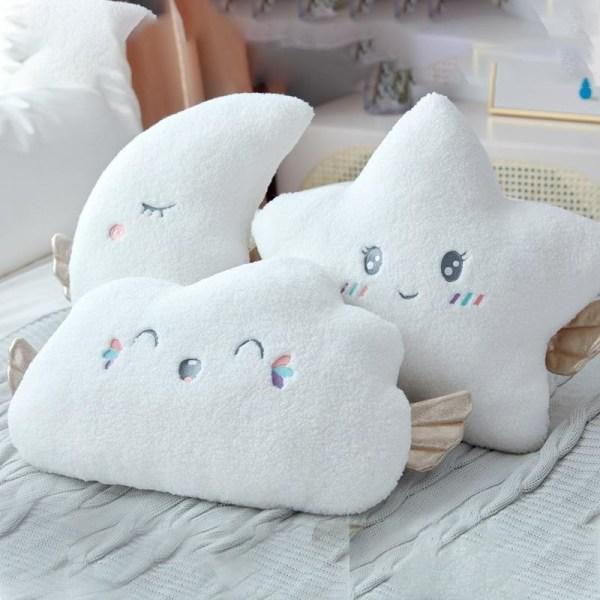 Plyschkudde moln mjuk kudde säng huvuddyna dekoration - ängel Moon