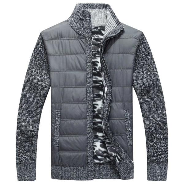 Vintertröja för fleece för män, tjock lapptäcke ull kofta Burgundy XL