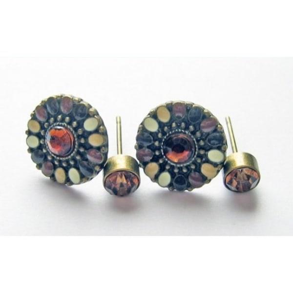 Dubbla örhänge med stenar och pärlor Brun