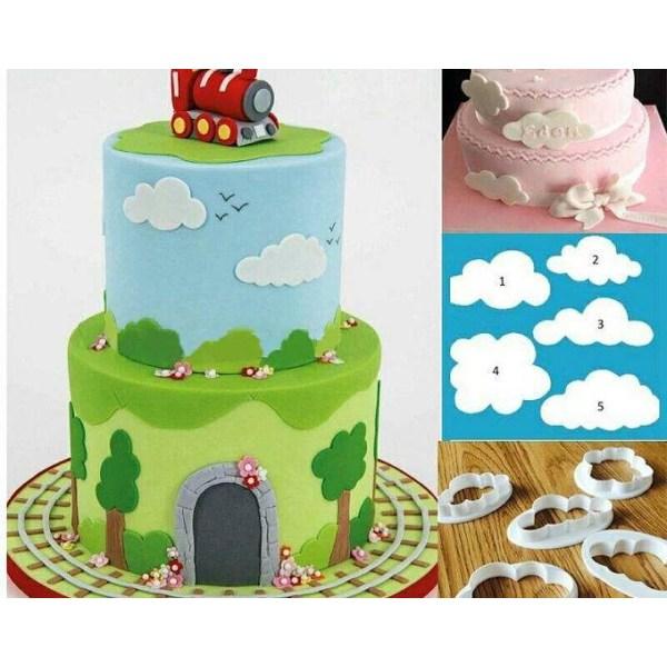 5st Moln Clouds Tappits Utstickare Cutter Tårtdekorering Sugarpa multifärg
