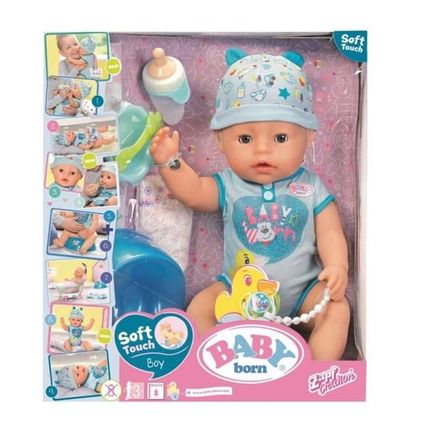 BABY born Soft Touch Boy- Mjuk docka med tillbehör pojke Blå