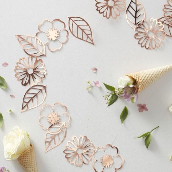 Blommor Girlang Roséguld - Ginger Ray Rosa guld