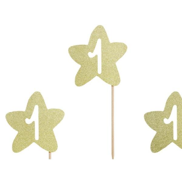 Cake Picks Cupcake Toppers - 1st Birthday - Guldstjärnor Guld
