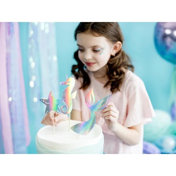 Cake Picks Iridescent Mix - Mermaid Party Silverglas
