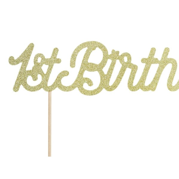 Cake Topper 1st Birthday Guld Första Födelsedagen Guld
