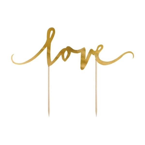 Cake Topper - LOVE - i Guld Guld