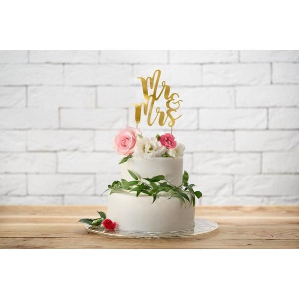 Cake Topper - Mr & Mrs - Guld Bröllop Guld