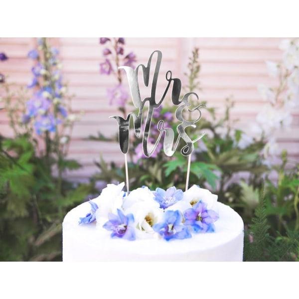 Cake Topper - Mr & Mrs - Silver Bröllop Silver