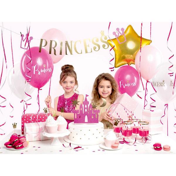 Cake Topper Princessa Slott Guld Rosa Guld