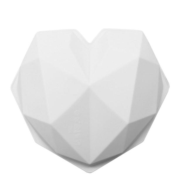 Diamant Hjärta SIlikonform Mousseform Mirror Glazeform Vit