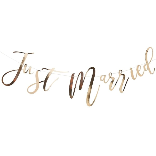 Girlang Backdrop Banner Guld - Just Married Guld