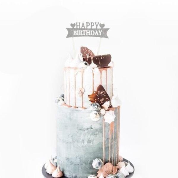 Happy Birthday Cake Topper Silver