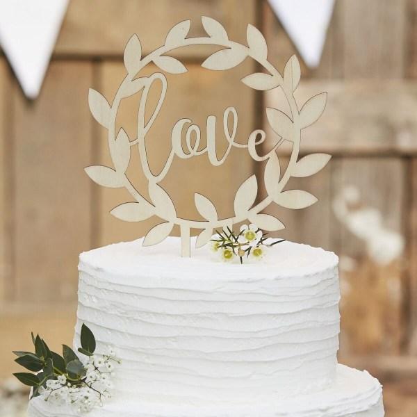 Love Cake Topper i Trä Brun