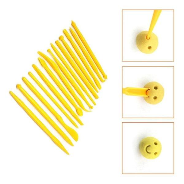 Modelleringsverktyg Gul 14st, Verktyd för Tårtdekorering Yellow