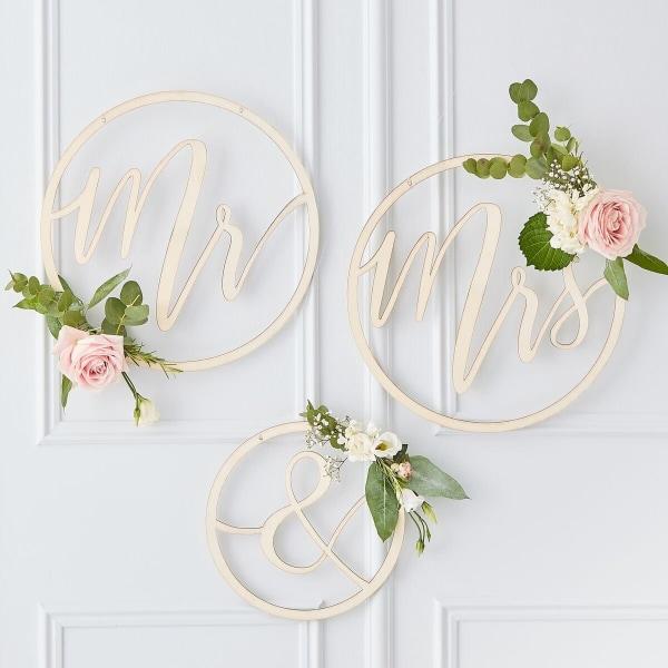 Mr & Mrs Ringar Dekoration till Bröllop Natur