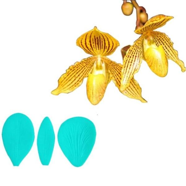 Orkidé Petal Veiner Set 3 Delar, Silikonform Grön