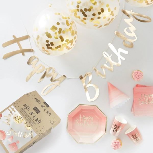 Party In A Box Rosa & Guld - Kalaslåda för Fest 16 personer Rosa