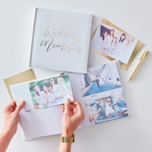 Photoalbum Guld Vitt Bröllop Vit