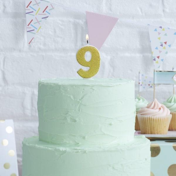 Tårtljus Siffra 9 multifärg