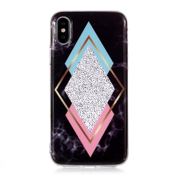Chic marmorskal med rektanglar i olika färger till iPhone XS/X