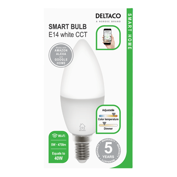 DELTACO SMART HOME LED-lampa, E14, WiFI, 5W, 2700K-6500K, dimbar