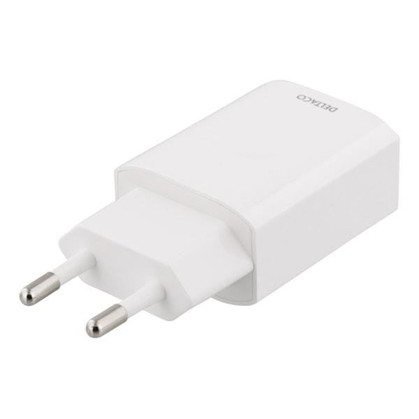 DELTACO USB Väggladdare 2,4A, vit