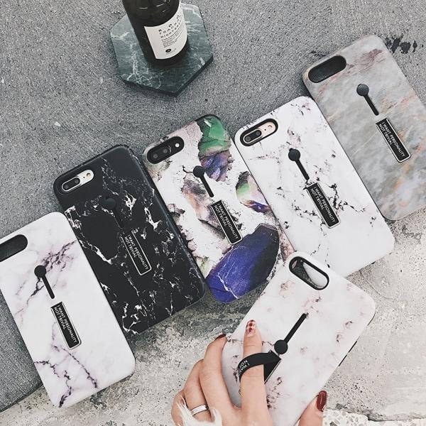 Modeskal med fingerhållare till iPhone X/XS i sandrosa och marmo