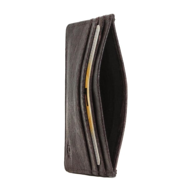 Korthållare med RFID-skydd i äkta oxläder Brown Brun