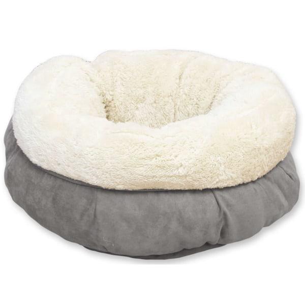 afp Hund-/kattsäng lammull donutformad grå Grå