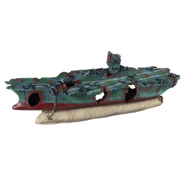 Aqua d'ella Akvariedekoration hangarfartyg 19x8x10,5cm PET harts Blå