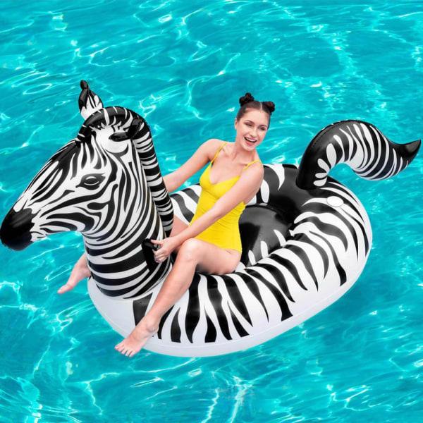 Bestway Badmadrass zebra med LED-belysning Transparent