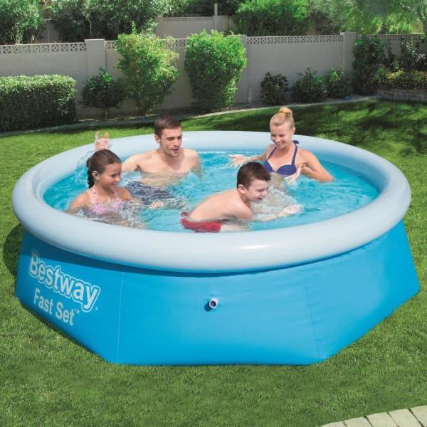 Bestway Pool uppblåsbar Fast Set rund 244x66 cm 57265 Blå