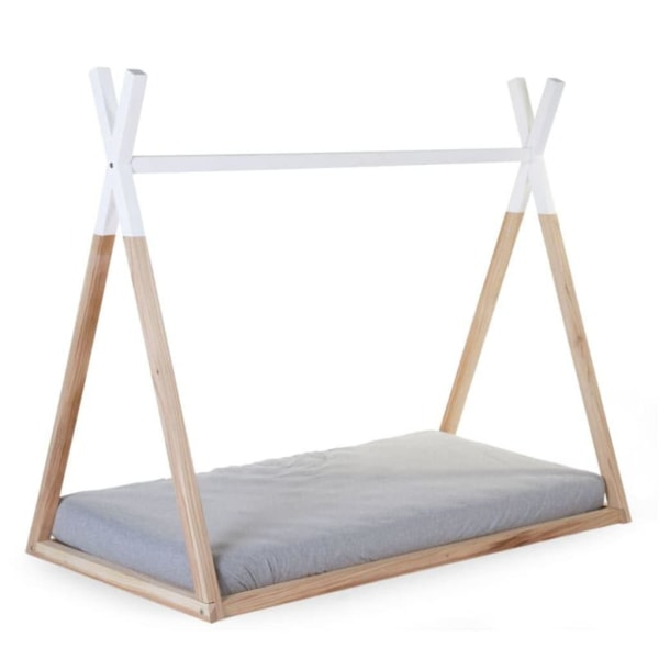 CHILDHOME Sängram tältinspirerad 70x140 cm naturträ och vit B140 Brun