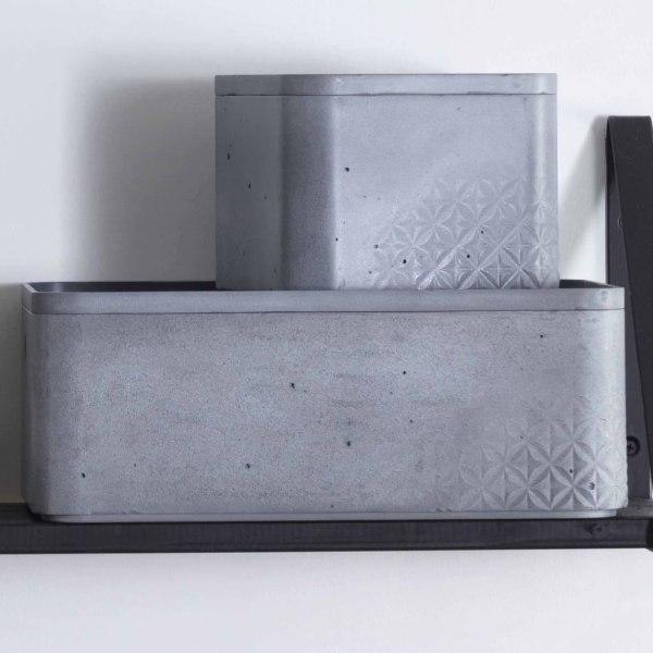 Curver Beton Förvaringslåda med lock 3 st strl. S+M ljusgrå Grå