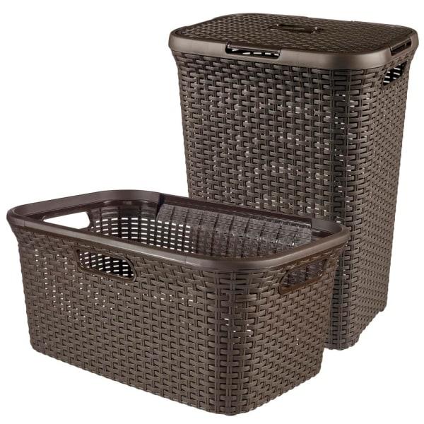 Curver Style Tvättkorg och mangelkorg brun 105 L 240684 Brun